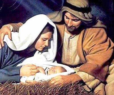 Navidad, el pesebre, el ni�o Jesus y Maria y Jose