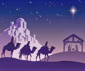 Los Reyes Magos guiados por la estrella hacia belne