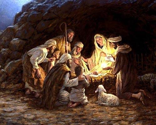 Pastores visitan el pesebre del ni�o Jesus