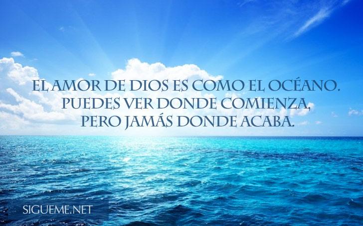 imagen de un oceano con una frase biblica