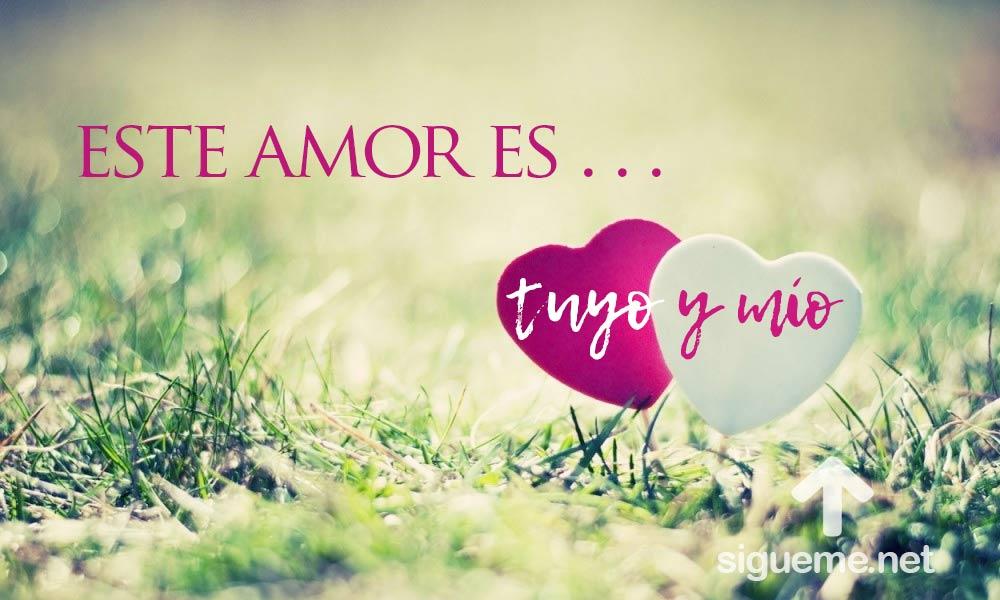 Dos corazones sobre el cesped con frase de amor