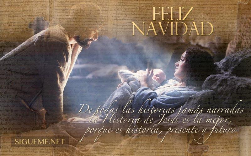 Imagen de Navidad con la frase La historia del Nacimiento de Jesus