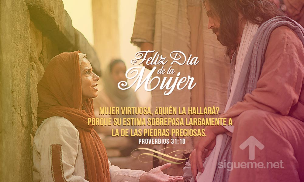 Imagen cristiana con la frase biblica de la mujer virtuosa