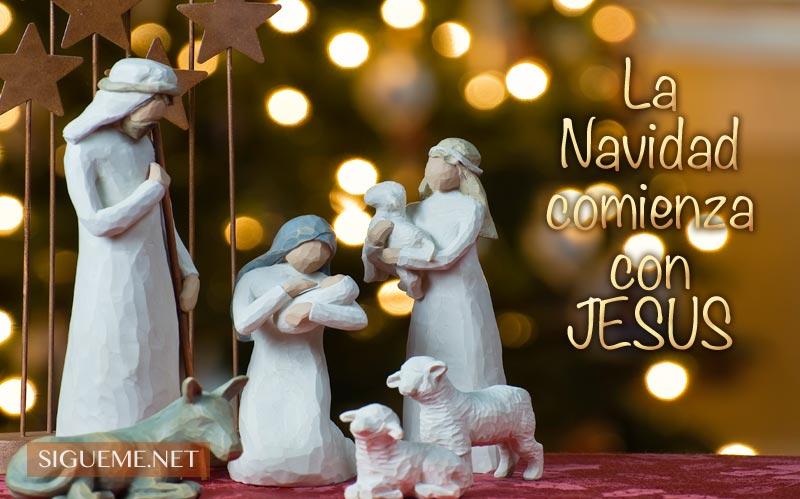 Imagen de Navidad con la frase La Navidad Comienza con Jesús