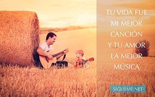 padre con su hijo tocando la guitarra en el campo abierto