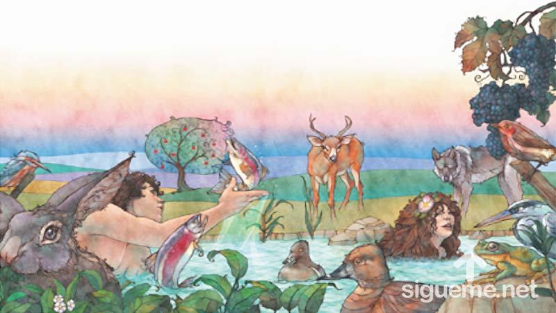 Adan y eva en el huerto del eden historias biblicas para ni os for Adan y eva en el jardin