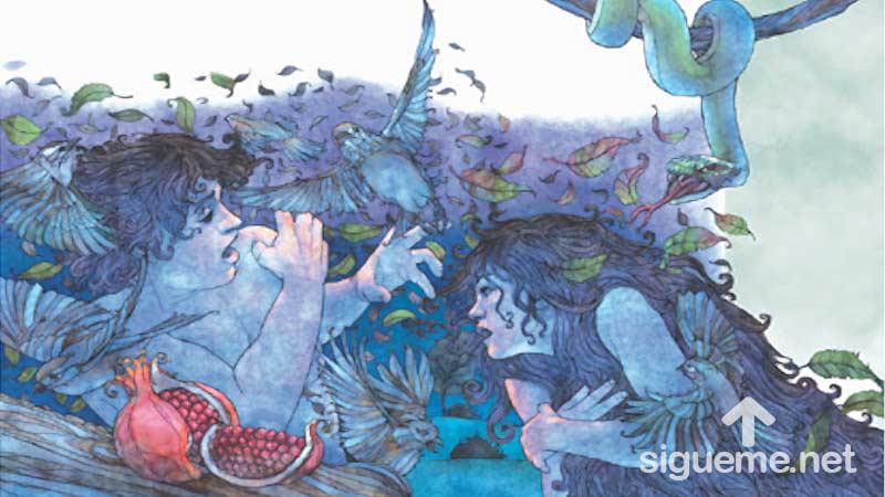 Ilustracion de la historia biblica  Adan y Eva son tentados por la serpiente en el huerto del Eden