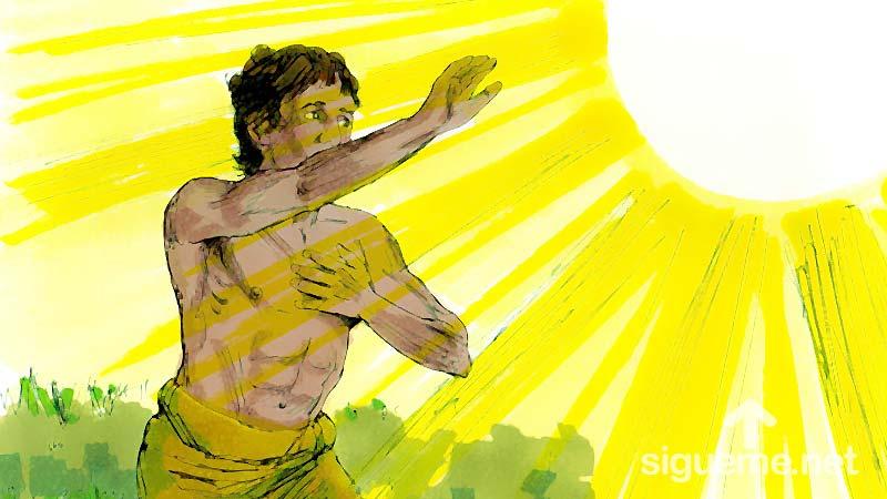 Ilustracion de la historia biblica  Cain mata a Abel y es maldecido por Dios