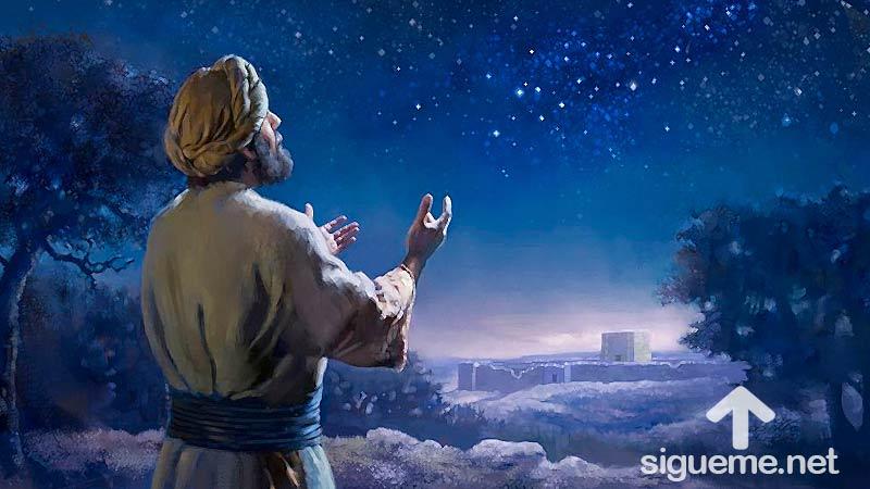Ilustracion de la historia biblica Dios le promete un hijo a Abraham