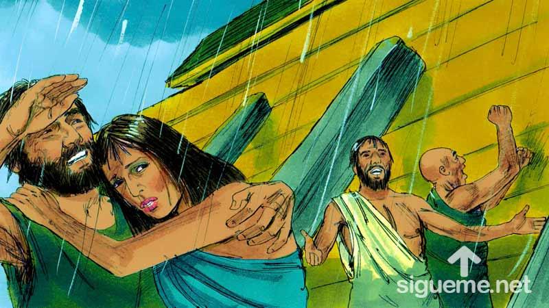 Ilustracion de la historia biblica El Arca de Noe, comienza el diluvio
