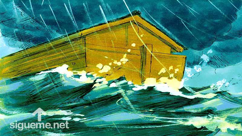 Ilustracion de la historia biblica  El diluvio cubre toda la tierra