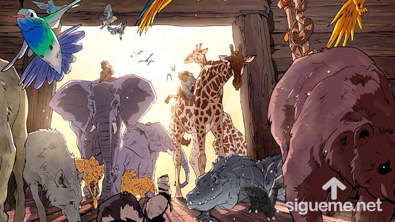Ilustracion de la historia biblica  Los animales entran al arca de Noe