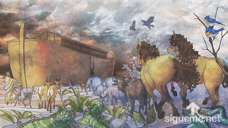Ilustracion de la historia biblica  Noe hace ingresar a los animales al Arca