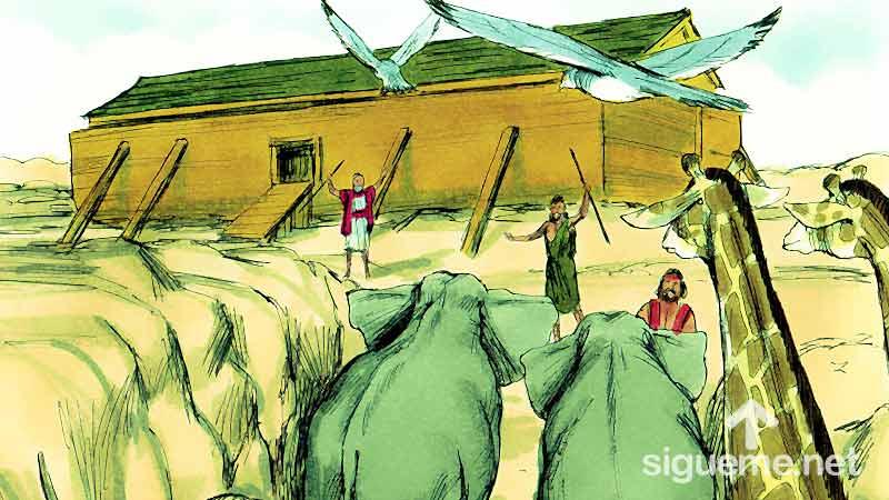 Ilustracion de la historia biblica Los animales van llegando al arca de Noe