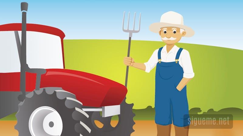 Granjero con su granja dibujo