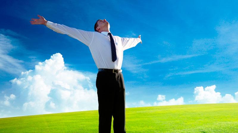 Hombres de Negocios actitud positiva en crisis financiera