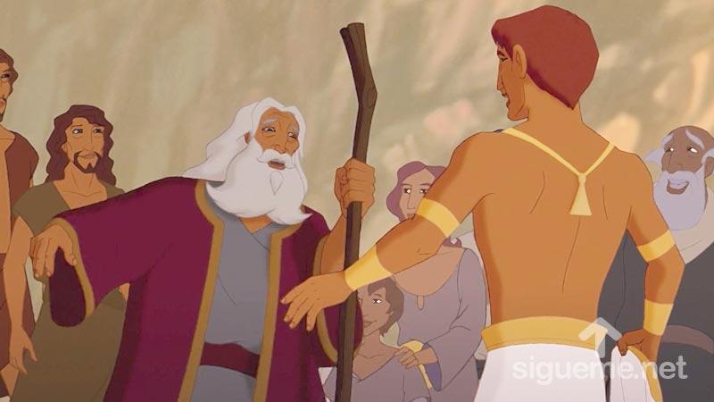 Ilustracion de la historia biblica Jacob se encuentra con Jacob en Egipto