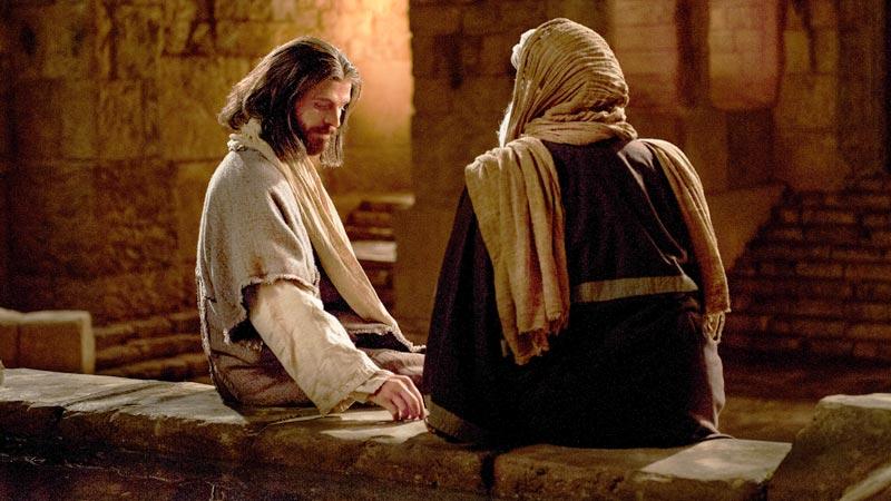 Jesus hablando con un hombre en la noche