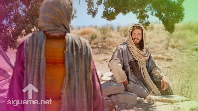 Jesus y la Mujer Samaritana conversan en el pozo de Jacob