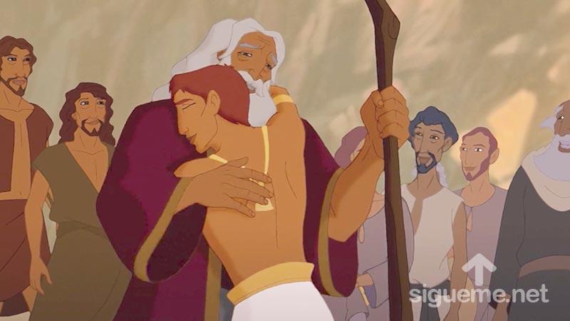 Jose se abraza con su padre Jacob en su reencuentro en Egipto