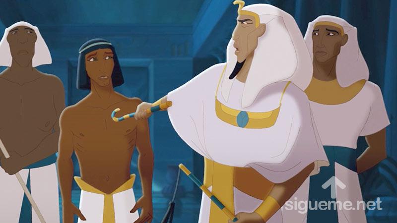 Ilustracion de la historia biblica José es presentado delante del Faraon de Egipto