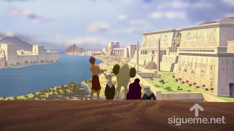 Ilustracion de la historia biblica  José es vendido por sus hermanos y es llevado a Egipto