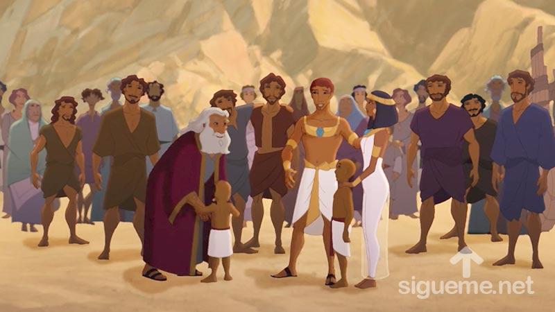 Ilustracion de la historia biblica  Reencuentro de Jose, sus hermanos y su padre Jacob en Egipto