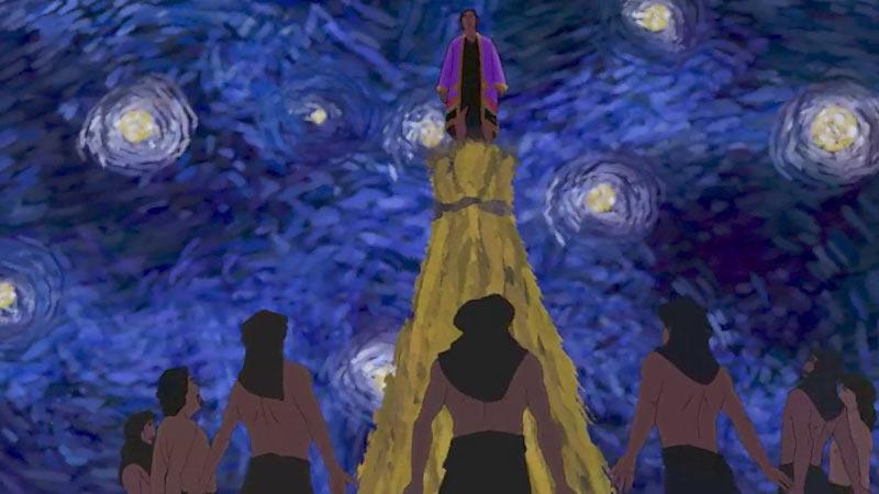 Ilustracion de la historia biblica  Jose tiene un sueño junto a sus hermanos