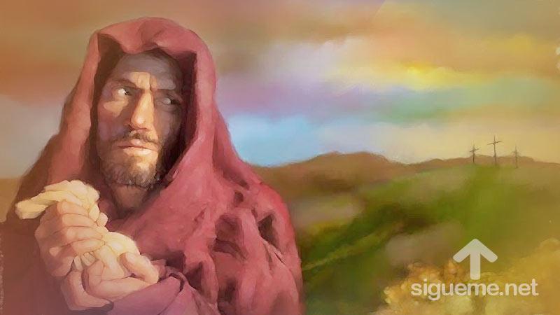 Judas Iscariote traiciona a Jesus por treinta piezas de plata