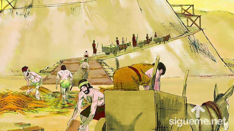 Ilustracion de la historia biblica La Torre de Babel, comienza la construccion