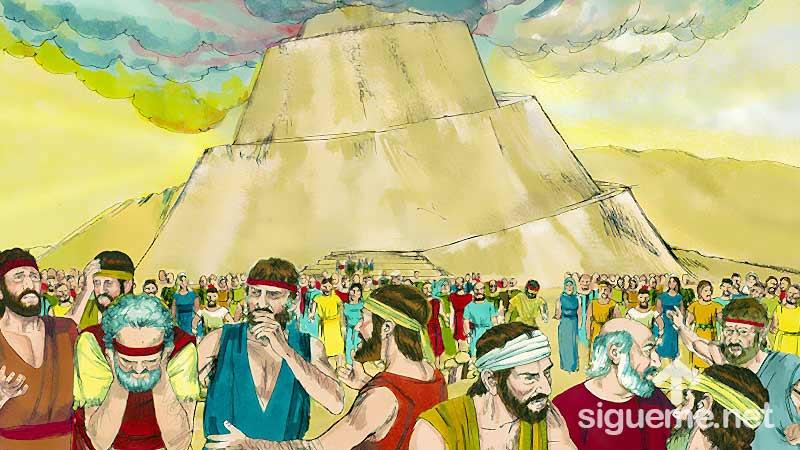 Ilustracion de la historia biblica  La Torre de Babel Dios confunde el lenguaje de los hombres