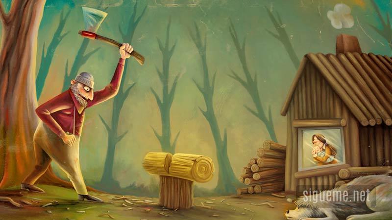 Leñador con su hacha en el bosque