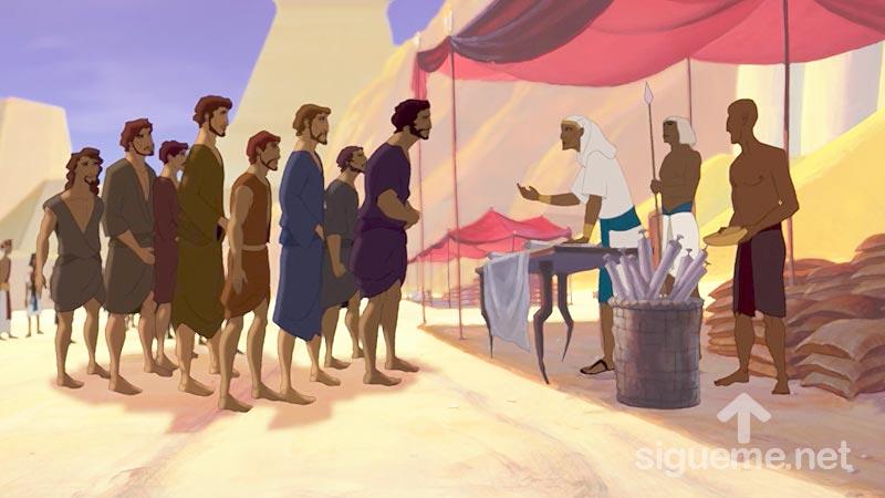 Ilustracion de la historia biblica Los hermanos de Jose llegan a Egipto