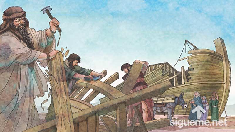 Ilustracion de la historia biblica Noe construye el Arca