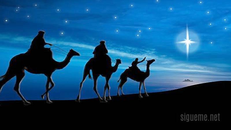 Los reyes magos rumbo a Belen guiado por la estrella