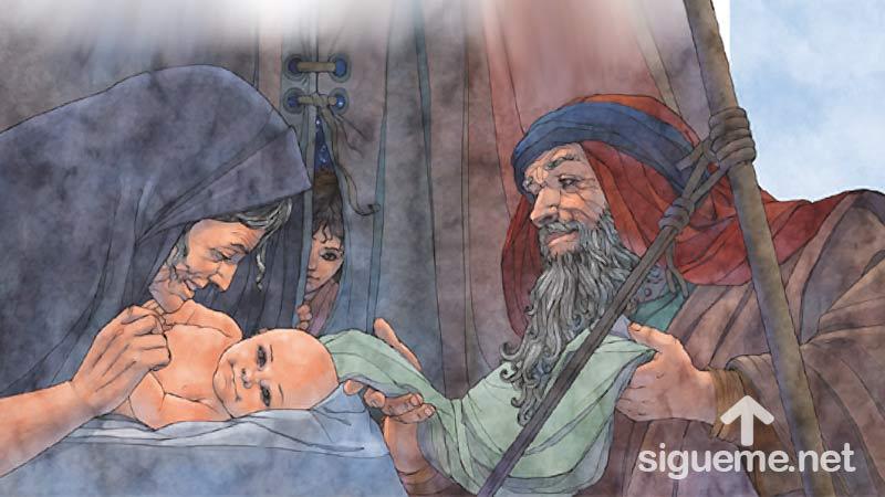 Ilustracion de la historia biblica  Sara, esposa de Abraham da a luz a Isaac