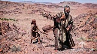 Abraham junto a Isaac preparan altar para adorar a Dios