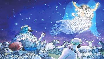 ilustración de: Un Angel anuncia a los pastores de Belén el nacimiento de Jesús en un pesebre