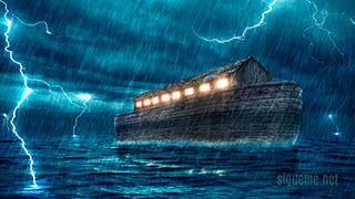 El Arca de Noe navegando en plena tormenta