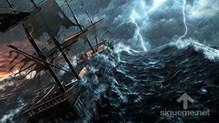 Barco de vela dirijiendose a la tormenta