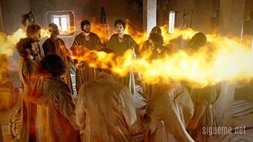 Los discipulos en el dia de pentecostes recibiendo como lenguas de fuego al Espiritu santo