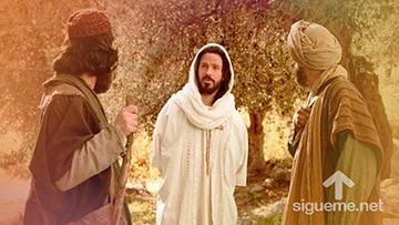 Jesus conversa con dos de sus discipulos