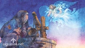 ilustración de: El Angel Gabriel le anuncia a María el nacimiento de Jesús