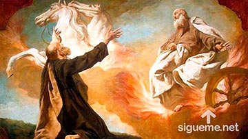 El Profeta Elias es arrebatado por una carroza de Fuego y llevado al cielo
