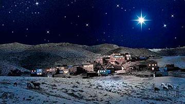 Estrella de belen sobre judea en navidad