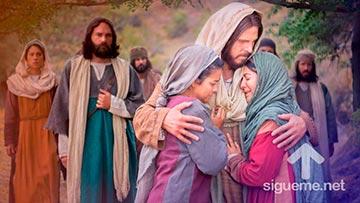 Jesus abraza a Marta y a Maria, hermanas de Lazaro, el que resucito