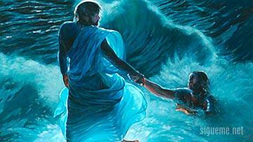 Jesus camina sobre las aguas del mar de Galilea y rescata a Pedro
