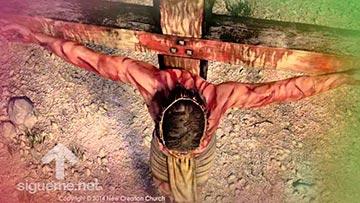 Jesus en la cruz, pago con su vida para salvar la del hombre