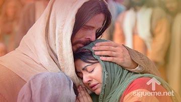 Jesus llora junto a Marta y a Maria hermanas de Lazaro