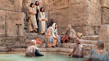 Jesus sana a un paralitico en el estanque de Betesda